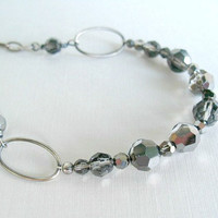 Gray Necklace Sterling Silver Crystal Jewelry Oxidized Chain Necklace