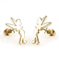 Gold Plated Tinkerbell Silhouette Stud Earrings From Disney Couture : TruffleShuffle.com