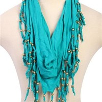 infinity scarf with fringe and studs