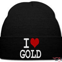 i love gold beanie knit hat