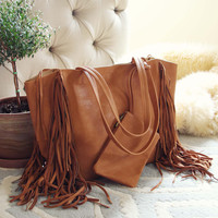 Honey & Bourbon Fringe Tote