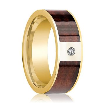 Men's Polished 14k Gold & Diamond Wedding Band with Red Wood Inlay - 8MM
