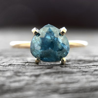 Raindrop Teal Blue Diamond in 14k yellow gold - Ready to ship - One of a kind