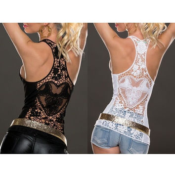 Lace Vest Top Sleeveless Tank Tops - Black/White/Red