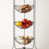 Curved Trio Basket Stand by Anthropologie Black Motif One Size Kitchen