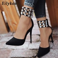 Eilyken Flock Crystal Women Pumps Fashion Zipper Pointed Toe  High Heels Lady Shoes Thin Heels Chaussure Femme Talon