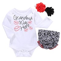 Suit baby girls clothes newborn Girls Infant Kids Letter Printed Romper +Ruffles Pants Flower Headband Outfit