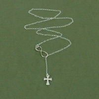 Flared Cross and Infinity Lariat, Infinity Necklace, Sterling Silver Lariat, Cross and Infinity Necklace, Infinity Ring