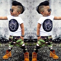 Stylish Infant Toddler Baby Kids Boys Outfits Babies Boy Rock Gesture Tops T-shirt Camouflage Pants