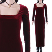 90s Burgundy Stretch Velvet Maxi Dress Red Wine Long Sleeved Vamp Witchy Goth 1990's Vintage Clothing Womens Size Small
