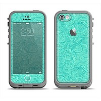The Teal Leaf Laced Pattern Apple iPhone 5c LifeProof Fre Case Skin Set