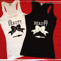Same Sex Her Beauty and Her Beauty Matching Couples Tanks or Tshirts Free Shipping In US