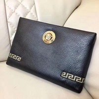 VERSACE MEN'S LEATHER ZIPPER HAND BAG
