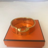 HERMES 1091217 AUTHENTIC H CLIC CLAC ORANGE W/GOLD BANGLE BRACELET CUFF