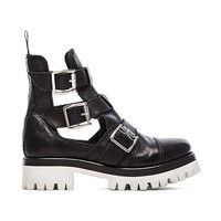 Love Moschino Black & White Cut Out Boot in Black