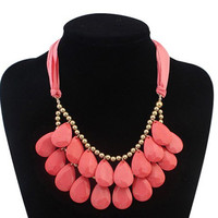 Red Faux Gem Water Drop Necklace
