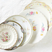 Antique Cottage Style Vintage Shabby Mismatched Plates, Set of 6, Dinner, Dessert, Wedding, Tea Party, Mosaic Supplies, Craft Projects