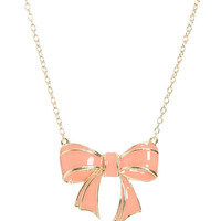 Epoxy Bow Pendant Necklace | Shop Junior Clothing at Wet Seal
