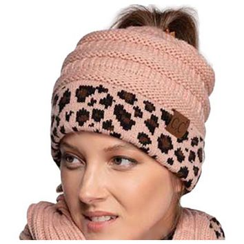 Solid with Leopard Cuff CC Beanie Tail