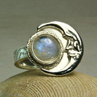 Crescent Moon Ring, Blue Moonstone Ring, Novelty Piece, Unique Jewelry, Bohemian, custom sized