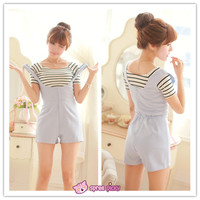[Blue/Black] 2 Pieces Set Stripes Top and Jumpersuit Shorts SP151867 from SpreePicky
