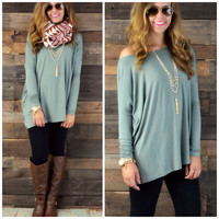 Galloway Olive Piko Long Sleeve Top