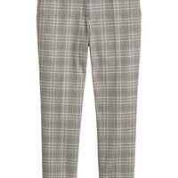 Cigarette trousers - Grey beige/Checked - Ladies | H&M