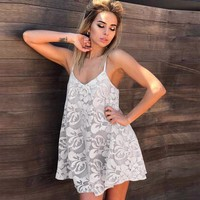 Ladies Summer Sexy Hollow Out V-neck Backless Spaghetti Strap Lace One Piece Dress [10483285517]