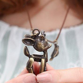 Vintage Deer&Bird&Butterfly Long Chain Pendant Necklace at Jewelry Store Gofavor