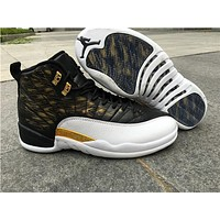 "Air Jordan 12 ""Wings"" black/white Basketball Shoes 36--47"