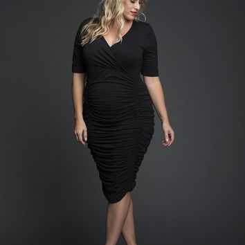 Ruched Detail Wrap Dress