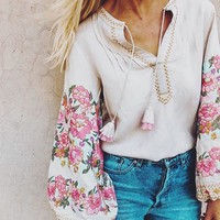 Boho Floral Embroidered Blouse 3/4 sleeve V-neck tassel Hippie Chic Women Shirt Top Casual Beach Blusa Blouses