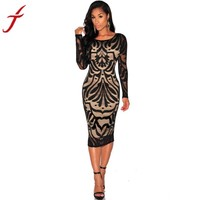 Summer Dress Long Sleeve Lace Dress Women Sexy Bodycon Bandage Evening Party