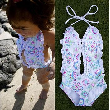 Baby Girls Bikini Floral Split Tankini Swimsuit Bathing Suit Swimming Clothes UK
