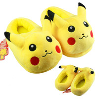 pokemon slippers Anime Cartoon Cotton Adults Indoor Slipper Home Winter Warm Shoes Pokemon Totoro Pikachu Minions Slippers