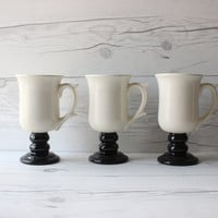 Vintage Set of 3 White Footed Irish Coffee Mugs with Black Pedestal Bases