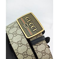 GUCCI hot selling printed gold buckle belt fashionable casual belt for men and women #2