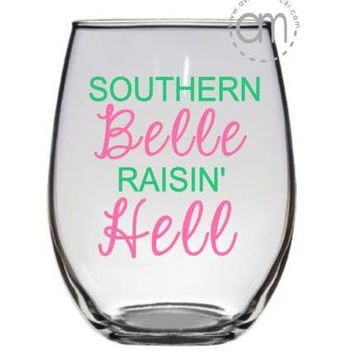 Southern Belle Raisin Hell wine glass and coffee mug