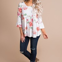 Imagine This Babydoll Floral Top (Ivory)