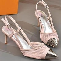 Louis Vuitton Women Fashion Casual Pointed Toe High Heels Shoes