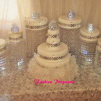 Wedding Cake Stand Diva Cascade waterfall crystal set of 9 wedding acrylic cake stands with a battery operated LED light.