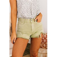 Don't Look Back Distressed Shorts (Pistachio)