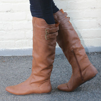 """""""Proud"""" Knee High Flat Boots with Buckle Straps - Camel"""