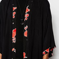 Reclaimed Vintage Kimono In Mid Length With Floral Trim