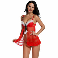 Women's Red Lace Holiday  Lingerie Sexy Erotic
