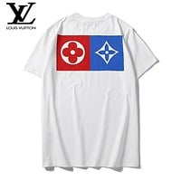 LV fashion hot selling pair of color print casual short sleeve t-shirts White