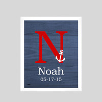 Monogram First Initial, Nautical Navy Red, Birth Stats CUSTOMIZE YOUR COLORS 8x10 Prints, nursery decor nursery print art baby room decor