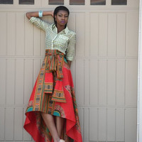 New African print skirt  Red Dashiki  skirt, African clothing, African skirt Limited Quantity