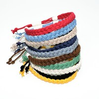 """Anklet Adjustable Woven 3/8"""" Wide Nautical Colors"""