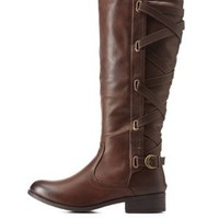 Brown Crisscross Belted-Back Riding Boots by Charlotte Russe